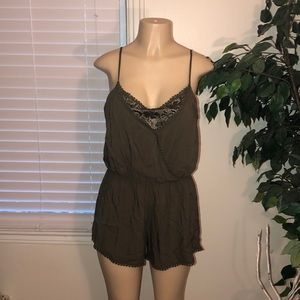 Ambiance | Olive Green Lace Romper